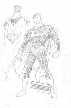 Superman design sketch by John Byrne. Comic Book Artists, Comic Books Art, Comic Art, Comic Character, Character Design, Superman Stuff, John Byrne, Woman Sketch, Super Man