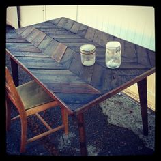 Herringbone Dining Table by JSReclaimedWood on Etsy, $1175.00