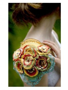 This idea would be great as a capelet or overleeves - Gorgeous fabric flowers by Sara Lowes