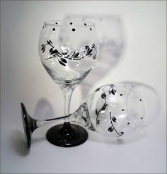 Black and White Painted Wine Glasses
