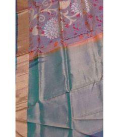 Grey Pure Handloom Kajeevaram Soft Silk Double warp Saree