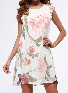 Chiffon Blumen Ärmellos Über dem Knie Lässige Kleidung Kleider (1042439) @ floryday.com