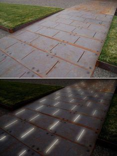 landscape-a-design:Paving Detail of COR-TEN ramp - LED lighting glows from belowPhoto: Andrea Cochran Landscape Architecture.