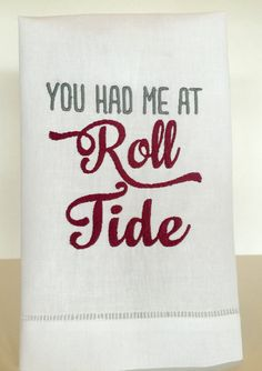 Alabama ROLL TIDE Linen Hand Towel by InitialCollections on Etsy