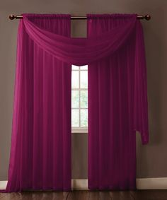 "Warm Home Designs extra wide Plum Purple curtains have total width of 112 inches. 2 panels (1 pair) is included in a package. Rod pocket insert will fit most rods up to 2"" in diameter Both scarf and curtain sheers are made from high-quality polyester and are designed to let most of the sun light through while offering some privacy at night."