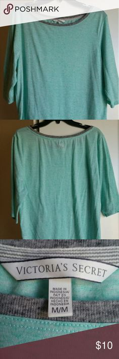 Seaform green and grey lounge shirt Victoria's Secret seaform green and grey lounge shirt. Quarter length sleeves. Super comfy and soft. Small grey angel wings at the neck on the back. Size medium. Victoria's Secret Tops Tees - Long Sleeve