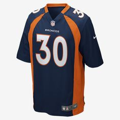 TEAM LOYALTY, EVERYDAY COMFORT Rep your favorite team and player anytime in the NFL Denver Broncos Game Jersey, inspired by what they're wearing on the field and designed for total comfort. TAILORED FIT A tailored silhouette delivers a contoured, modern fit. LIGHT, SOFT FEEL Silicone print numbers offer lightweight durability. CLEAN COMFORT A tagless neck label provides streamlined comfort. Product Details Strategic ventilation for breathability Woven jock tag at front lower left TPU shield…