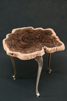 Bourbon Deluxe Side Table - eclectic coffee and drink table, mexican ebony, ziricote wood, live edge Diy Wooden Projects, Wood Shop Projects, Wooden Diy, Wood Crafts, Wood Slice Coffee Table, Wood Table Design, Drink Table, Wood Slab, Cool Furniture