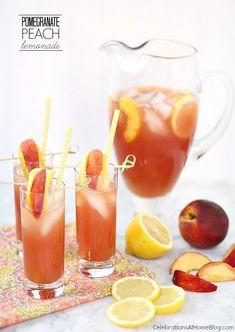 Pomegranate Peach Lemonade - Celebrations at Home