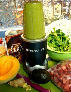 My own Magic Bullet Recipe #1 as follows: Spinach, Artisan lettuce, Avocado, Cantaloupe with seeds, Strawberry's, Flax seed, walnuts, Wheat Germ, tiny piece of Ginger root, and add water to fill line.
