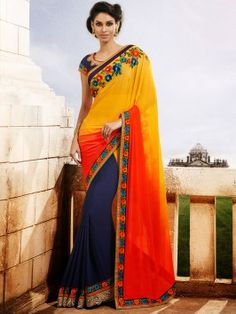 Yellow Georgette Saree With Resham And Pearl Work www.saree.com