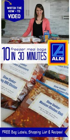 10 Freezer Meal Bags from Aldi in Under 30 Minutes! - 10 Freezer Meal Bags from Aldi in Under 30 Minutes! – freezer meals — helpful for prep before - Make Ahead Freezer Meals, Crock Pot Freezer, Freezer Cooking, Crock Pot Cooking, Budget Cooking, Bulk Cooking, Freezer Lasagna, Dump Meals, Crock Pots