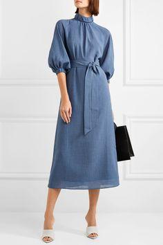 Cefinn   Belted voile midi dress   NET-A-PORTER.COM