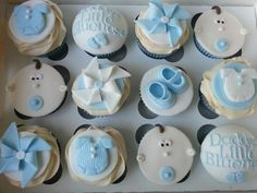 Bbay shower cupcakes made for my friend who was having a boy . Loved making the pinwheels :)