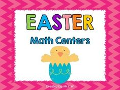 Easter Math Centers (5 Centers, Worksheets and Recording Sheets)   ** Check out the preview! **   Purchase my Easter Literacy and Math Centers Bundle and SAVE! Easter Literacy and Math Centers Bundle  Looking for an Easter printable pack? Check out Easter Literacy and Math Printables   This package is full of Easter fun and will be a great addition to your math centers!