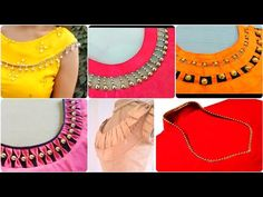 Golden Pearl And Beads Creative &Easy To Make Neck Designs For Summe. Chudithar Neck Designs, Salwar Neck Designs, Kurta Neck Design, Saree Blouse Neck Designs, Neck Designs For Suits, Sleeves Designs For Dresses, Fancy Blouse Designs, Dress Neck Designs, Sleeve Designs