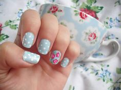 Nail art inspiration is all around you! Try a manicure like this one inspired by a print on a teacup.