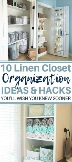 10 Linen Closet Organization Ideas That Also Looks Beautiful Easily declutter and organize your linen closet with these brilliant DIY linen closet organization ideas. With these great organization hacks, your linen closet will never be messy again! Bathroom Closet Organization, Bathroom Linen Closet, Linen Closet Organization, Closet Bedroom, Closet Storage, Organization Ideas, Storage Ideas, Bathroom Storage, Storage Bins