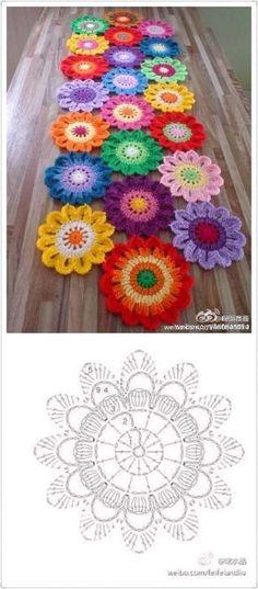 Crochet table runner diagram charts doily patterns 29 ideas for 2019 Motif Mandala Crochet, Crochet Flower Patterns, Doily Patterns, Crochet Squares, Crochet Doilies, Crochet Flowers, Mandala Rug, Granny Squares, Crochet Motifs