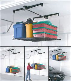 I want a similar pulley system in my garage that will also move from side to side so that I can load my Christmas decorations on it, raise them up then climb the ladder and load them on the loft shelves above my garage doors.
