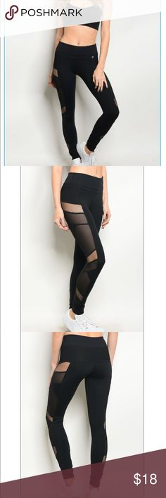 "Athletic Mesh Leggings Price firm unless bundled.   Black mesh leggings Fabric Content: 80% NYLON 14% SPANDEX 6% POLYESTER Description: L: 34"" W: 24"" I.S.: 28"" Small, medium, large Pants Leggings"