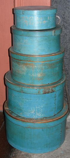 Early 19th Century Pantry Boxes with original robin's egg blue paint
