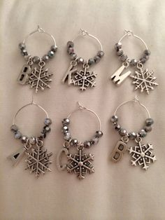 Custom Snowflake Wine Glass Charms  Silver by AshleyElmer on Etsy, $20.00