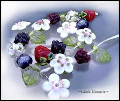 Berry Patch lampwork beads