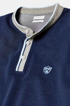 Piqué polo shirt with stand-up collar