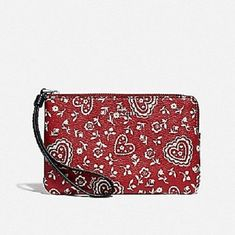 a2a5c6a4ad922 NWT Coach Lace Heart Corner Zip Red and White Coated Canvas Wristlet