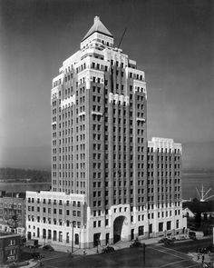 [Exterior of the Marine Building - 355 Burrard Street] - City of Vancouver Archives /art deco North Vancouver, Vancouver Island, Famous Places, Most Beautiful Cities, Historical Pictures, British Columbia, Art Images, Skyscraper, Skyline