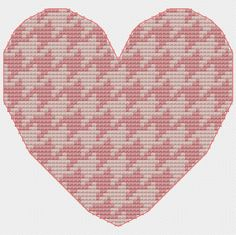 Pink Heart Cross Stitch Pattern Houndstooth by bythelindentree, $5.00