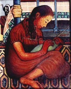 """Tejido de lana"" ""Wool knitting"" - Óleo sobre lienzo - Hamed Owais (1919-2011) - Pintor egipcio"