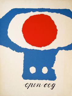"""gacougnol: """"Willem Sandberg Open oog 1946 Breda, De Beyerd 1983 Screenprint in two colors """" Graphic Design Calendar, Graphic Design Posters, Graphic Prints, Buch Design, Art Design, Design Ideas, Posters Conception Graphique, Collages, Kalender Design"""