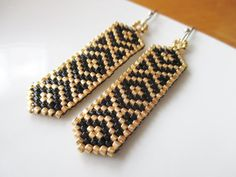 Handmade Aztec-Inspired Gold & Black Beaded by KreationsbyK8
