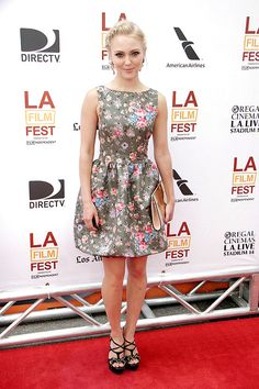 AnnaSophia Robb attends the premiere of 'The Way, Way Back' during the 2013 Los Angeles Film Festival in a RED Valentino dress accessorized with Mawi earrings, Salvatore Ferragamo sandals, and a Charlotte Olympia clutch.