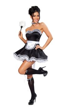 Clean as a whistle, now the only thing you'll need is a trusty Bissell! This super Sexy Fifi Adult Costume includes a black dress with white ruffle trim, a patented apron with a tie bow in the back, feather duster, and lace choker.