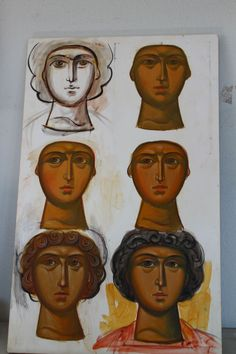 painting face Byzantine Art, Byzantine Icons, Religious Icons, Religious Art, Crafty Angels, Paint Icon, Artist Workshop, Face Icon, Drawing Exercises