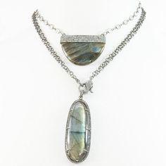 Labradorite Pendant Double Chain Necklace