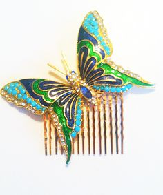 Vintage Enamel Butterfly Hair Comb - gorgeous