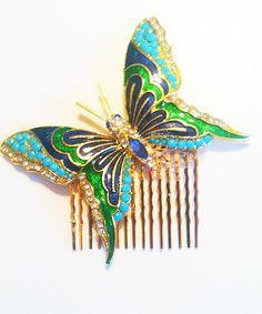 Vintage Enamel Butterfly Hair Comb