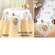 Embroidered Easter Basket Table Linens