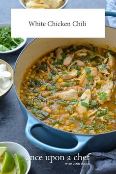 White Chicken Chili - Made with a rotisserie chicken, this hearty white chicken chili is a one-pot meal that you can have on the table in under an hour for a weeknight dinner. Chili Recipes, Soup Recipes, Diet Recipes, Cooking Recipes, Muffin Recipes, Crockpot Recipes, Cooking Tips, Chicken Snacks, Chicken Recipes