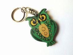 Wooden keyring Owl openwork in green handmade