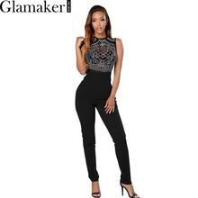 148b01efd2c Glamaker Sleeveless o neck rhinestone summer jumpsuit romper Mesh party  bodycon overalls Women clubwear long pants playsuit