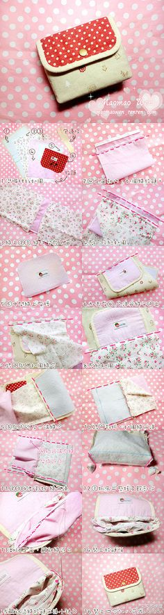 Coin purse made from 'fat quarters'. Sewing Tutorials, Sewing Crafts, Sewing Projects, Diy Cute Wallets, Diy Couture Trousse, Sew Wallet, Diy Sac, Purse Tutorial, Handmade Bags