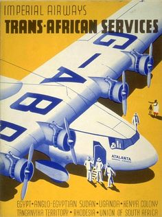 Imperial Airways ~ Trans-African Services - Printer: Ben Johnson & Co., Ltd., London & New York. July 1932.