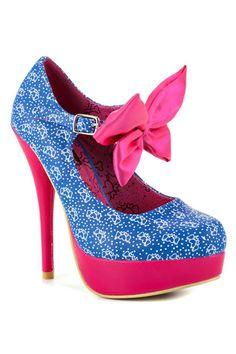 Bow Me Platform In Blue & Pink.