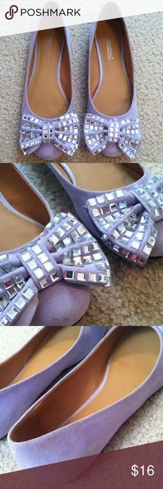 Purple bow flats. Purple flats with bling now. Shoes are used but in good condition. Shoes Flats & Loafers