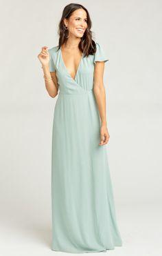 4beabd5be5 Noelle Flutter Sleeve Wrap Dress ~ Silver Sage Crisp